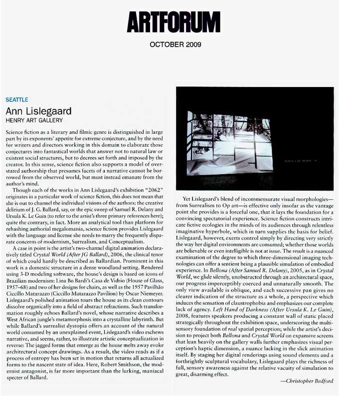 アン・リスレガード: ART FORUM, 2009年10月