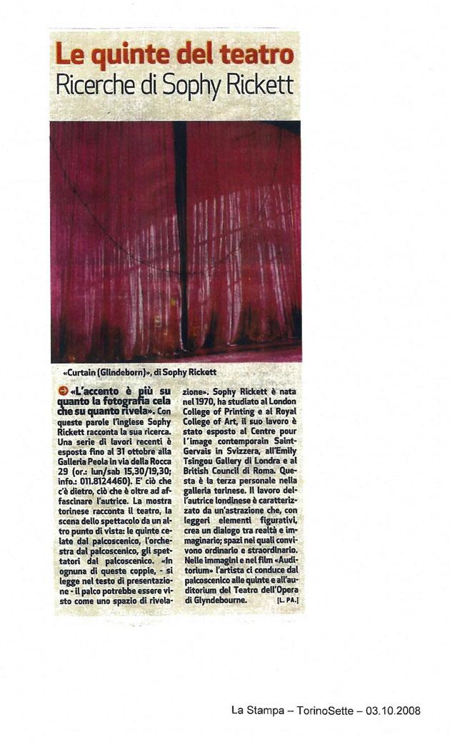 ソフィー・リケット: La Stampa, 2008年10月3日付