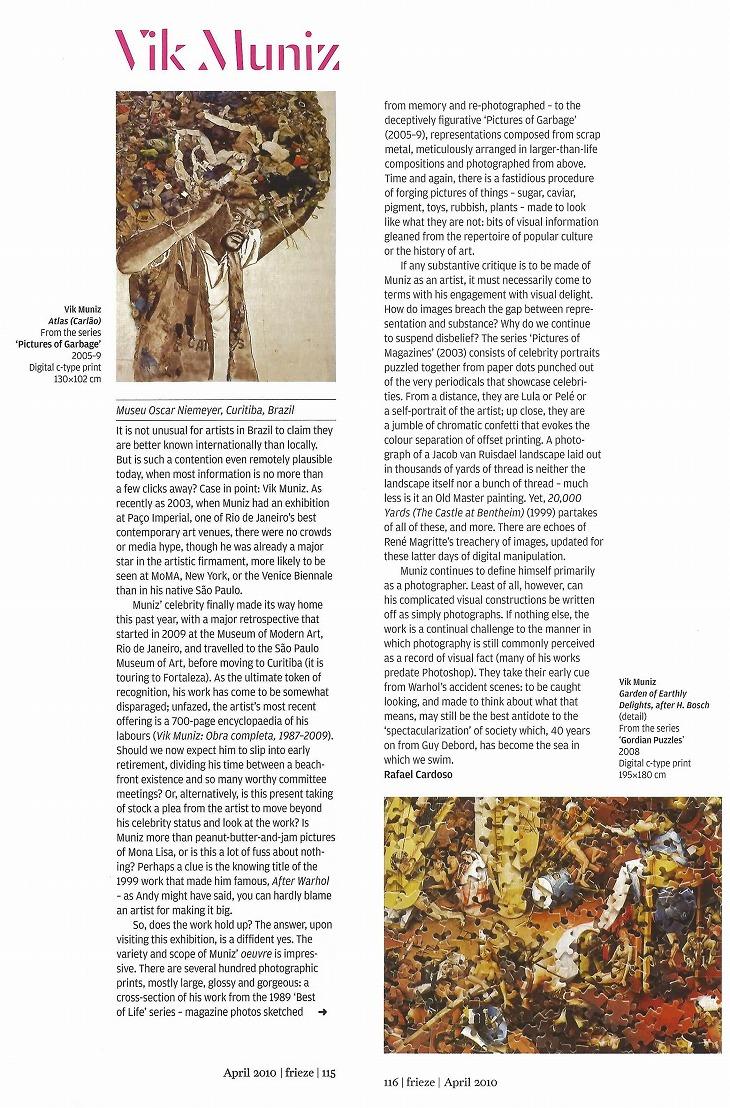 ヴィック・ムニーズ: frieze, Issue 130, 2010年4月